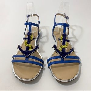 Talbots Mini Wedge Sandal Anchor Embellishment